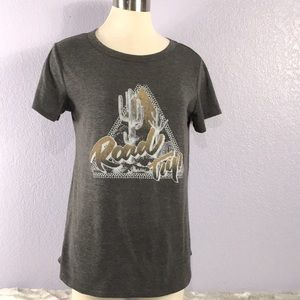 Sweet Claire charcoal gray graphic T-shirt…